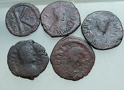 L6 Lot of 5x Ancient Byzantine AE 20 , 4o nummium  72g