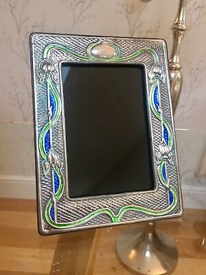 Art Nouveau Sterling Silver And Enamel Photo Frame