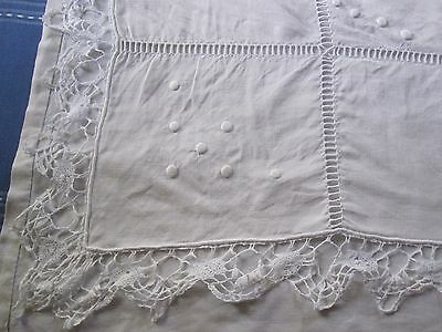 Beautiful Antique French PURE LINEN DOWRY SHEET with beautiful lace & MONO