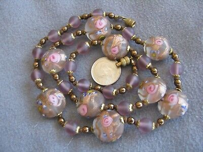 """21.5"""" Vintage Venetian Murano Glass Wedding Cake Bead Necklace Clear Frosted"""