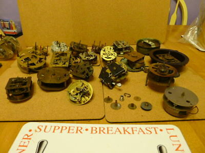20 x used Mechanical Movements mainly brass..50% working...Spares or repairs..
