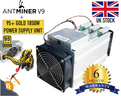 BITMAIN V9, 4TH/ ASIC Bitcoin BTC Miner + 1850W Power Supply 95+ - NEW