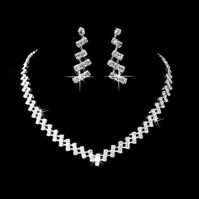 Wedding Jewelry Sets Crystal Bridal Jewelry Set Gifts Silver Choker Necklace Ear