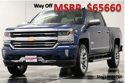 Chevrolet Silverado 1500 MSRP$65660 4X4 High Country Sunroof GPS DVD Blue Crew New Navigation Heated Cooled Leather 6.2L V8 22 In Chrome Rims 17 2017 18 Cab