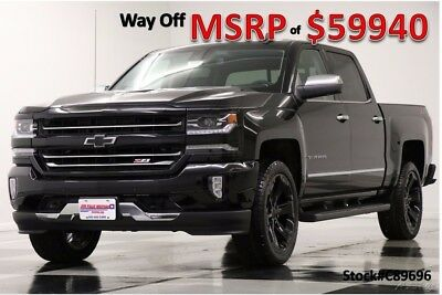 Chevrolet Silverado 1500 MSRP$59940 LTZ 4X4 Z71 Sunroof Black Crew New Navigation Heated Cooled Leather 22 In Black Rims Camera 17 2017 18 Cab 4WD