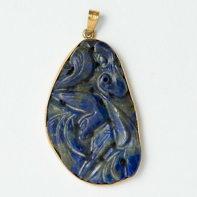 """Antique Chinese Carved Lapis Lazuli Necklace Pendant Gold Washed Silver 1-5/8"""""""