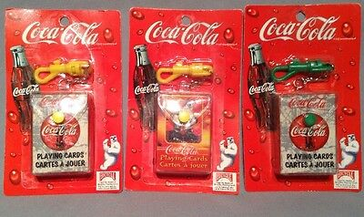 3 Coca Cola Mini Playing Cards Deck W/ Keychain Holder Bicycle Canadian Version