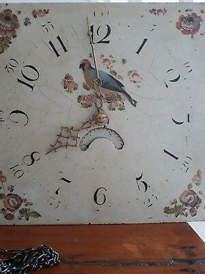 Antique Long Case Grandfather Clock Dial And Movement .