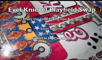Evel Knievel pinball Playfield swap How-to DVD Video.Time saving step-by-step