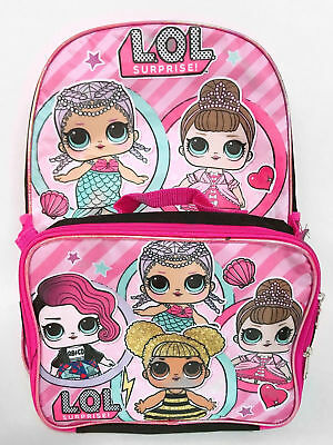 L.O.L. Surprise lol Girls School Book bag Backpack Lunch Box Set Doll Kids Black