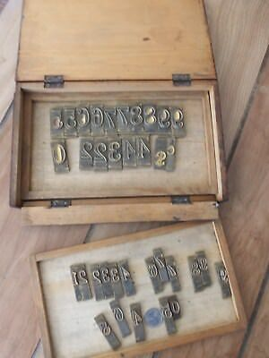 Antique Letterpress Numerals 0-9 BRASS Lot of 35 Printing Numbers Two Sizes