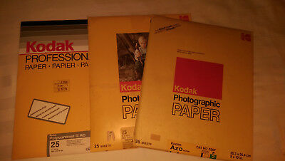 "Lot of 3 Kodak 8"" X 10"", Photographic Paper Sheets. One pk NEVER opened"