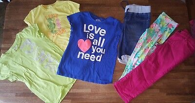 6 Pc Girl's Summer Clothes Lot Place OshKosh Capris T-Shirts Tops Pink - Size 12