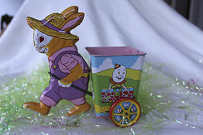 J. Chein Co. TIn Litho Girl Easter Bunny Pink Cart w/Humpty Dumpty / Fairy Tales