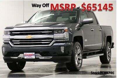 Chevrolet Silverado 1500 MSRP$65145 4X4 High Country Sunroof Graphite Crew 4WD New Navigation Heated Cooled Black Leather 17 2017 18 Cab 6.2L V8 Camera Gray
