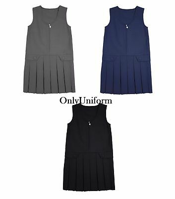 Pleated Girls School Uniform Pinafore Dress Sizes Age 2 - 16 Black Grey Navy