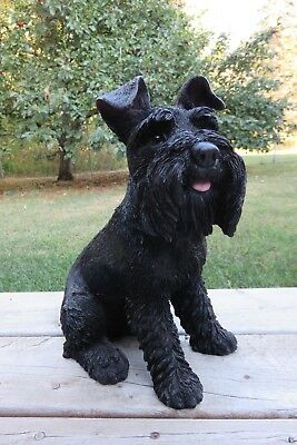 "Schnauzer Dog Sitting Dog Figurine Statue Resin Pet 13"" H Ornament New"