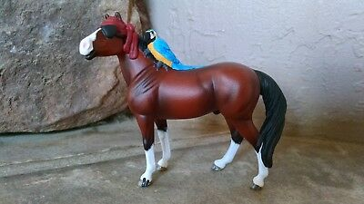 Custom Breyer Stablemate Resculpt Stock Horse Mare to Pirate Gelding with Parrot
