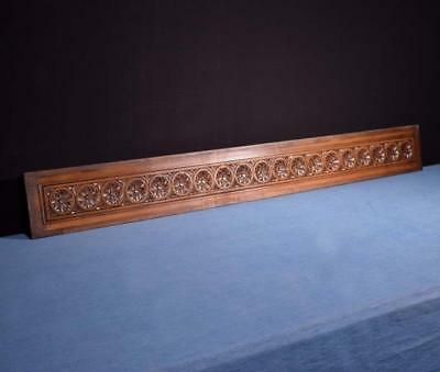 """*52"""" Antique Breton Hand Carved Architectural Panel Solid Chestnut Salvage"""