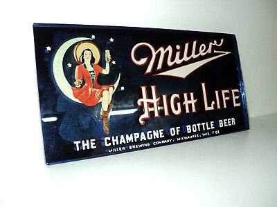 Vintage 1930's Art Deco Blue Mirrored Miller High Life Beer Sign Milwaukee, Wi