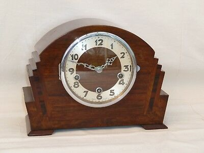 Enfield Art Deco 8 Day Walnut Westminster Chime Mantle Mantel Clock
