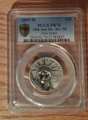 2007 W $50 Platinum Eagle Reverse Proof PR70 PCGS First Strike 10th Anniversary