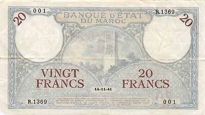 Morocco 20 Francs, 1941 P.18b Crisp VF Problem free Circulated NR