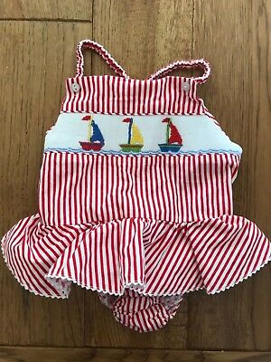 Silly Goose smocked sailboat girls swim suit - 24 mos. - never worn