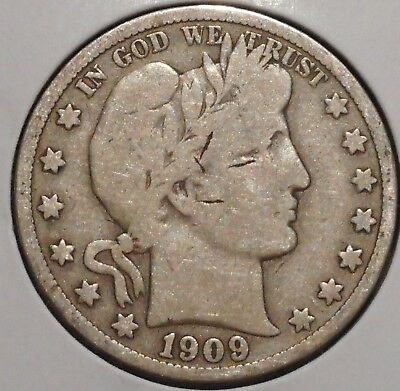 Barber Half - 1909 - Historic Silver! - $1 Unlimited Shipping