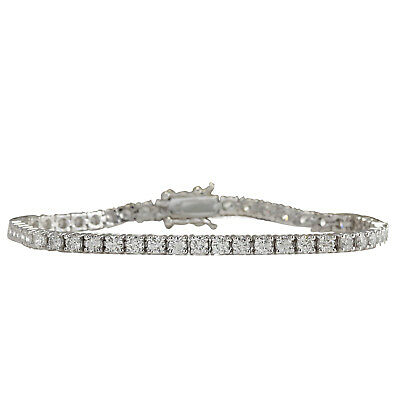 4.80 Carat Natural Diamond 14K Solid White Gold Tennis Bracelet