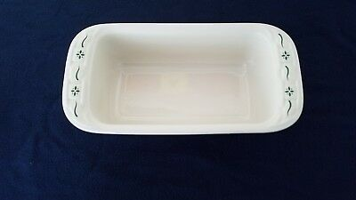 "Longaberger Heritage Green Pottery Large 11"" Loaf dish w/ Lid"