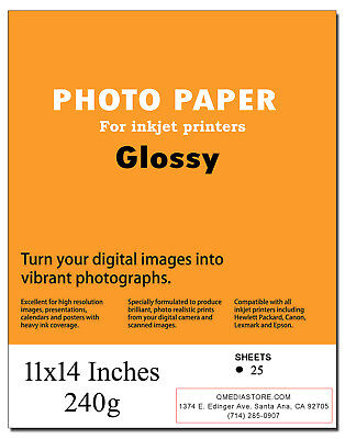 "High Quality 11"" x 14"" Professional Glossy Inkjet Photo Paper 25 Sheets"