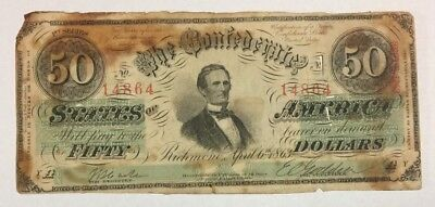 1863 $50  Richmond Confederate Note W/ Red Serial Numbers  SKU#14080