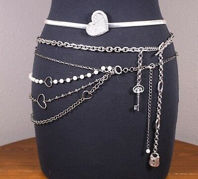 Lot 3 Vtg Love Lock Heart Silver Tone Chain Swag Snake Pearl Belts Liz Claiborne