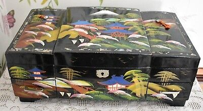 Large Wooden Vintage Oriental Musical Jewellery Box Black Lacquer. (ref287)