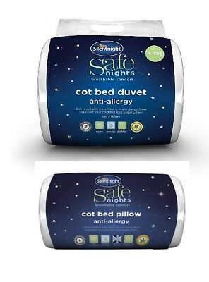Silentnight Safe Nights Anti-Allergy Cot Bed Pillow / 4 Tog Duvet / Set