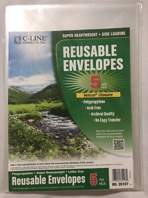 "C-Line 5pk Reusable Poly Envelope Hook and Loop Closure 9 3/8 x13"" 35107 New"