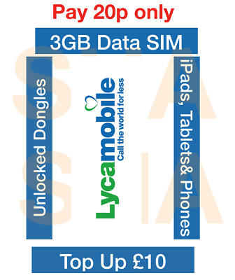 LYCAMOBILE PAYGO 4G Data Sim for 3GB Data for All Unlocked Dongles,Tablets
