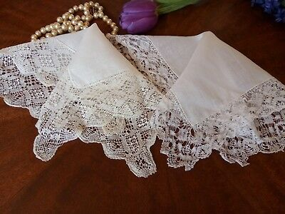 Vtg Wedding Needle Lace Hankies White 2 Handkerchiefs