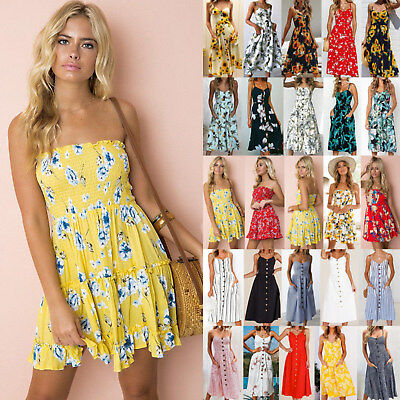 UK Women Strapless Floral Backless Sundress Ladies Summer Beach Mini Swing Dress