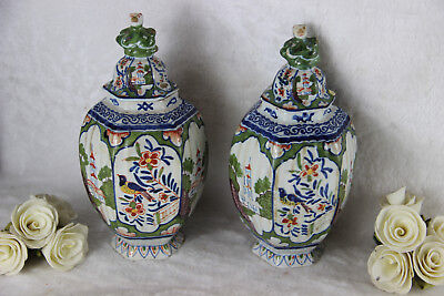 PAIR antique French faience QUIMPER  polychrome Vases foo dog birds marked
