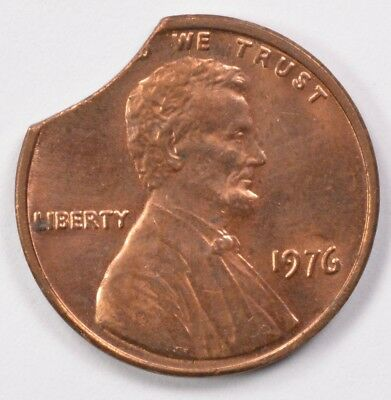 1c 1976 Lincoln Cent 7% Curved Clip BU Red