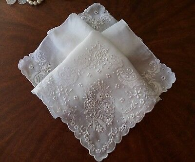 Vtg Wedding Hankie White on White Embroidery Handkerchief