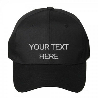 Custom Personalized Embroidered Text on Black Dad Hat Cap Folded Brim - New