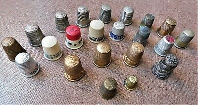lot 22 Antique - Vintage Thimbles~Sterling, Advertising, Her Majesty, Child,etc.