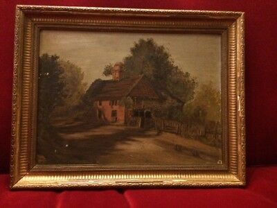 19th Century Oil On Canvas Cottage Scene in Antique Gilt Gesso Frame