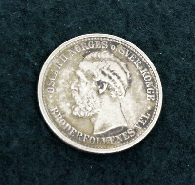 Rare Nice Norway 1 Krone 1900 Coin Great detail nice Old Norway Silver Coins