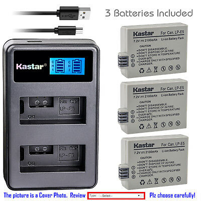 Kastar Battery LCD Dual USB Charger for Canon LP-E5 LPE5 LC-E5E & Canon EOS 450D