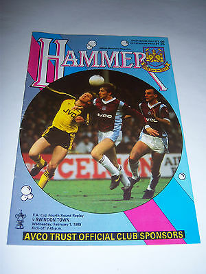 WEST HAM UNITED v SWINDON TOWN 1988/89 - FA CUP 4TH ROUND REPLAY - PROGRAMME