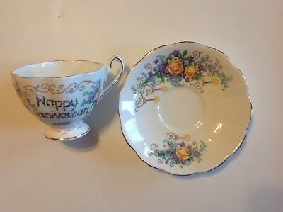 Queen Anne Happy Anniversary Tea Cup & Saucer Floral Pattern